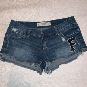 Abercrombie F logo denim shorts